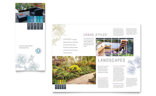 Urban Landscaping Tri Fold Brochure Template