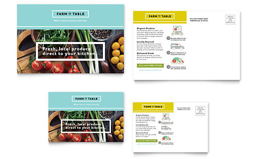 Organic Food Postcard Template