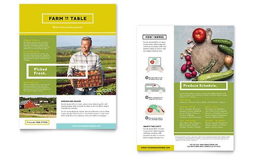 Organic Food Datasheet Template