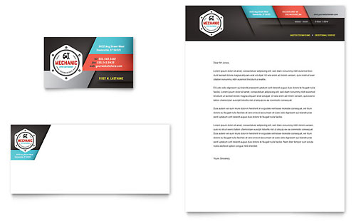 Auto Mechanic Business Card & Letterhead Template