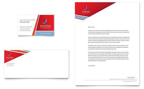 Aviation Flight Instructor Business Card & Letterhead Template
