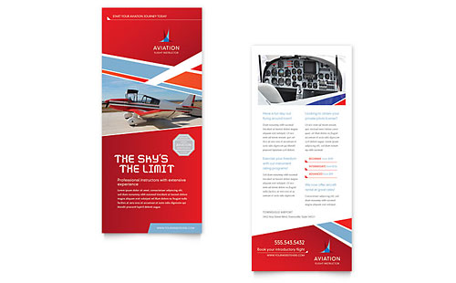 Aviation Flight Instructor Rack Card Template