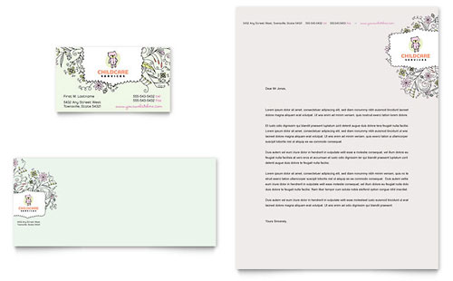 Babysitting & Daycare Business Card & Letterhead Template