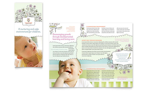 babysitting daycare tri fold brochure template
