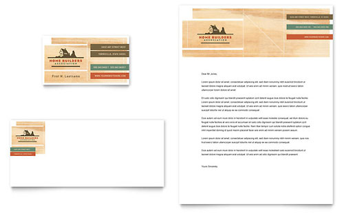 Home Builders & Construction Business Card & Letterhead Template