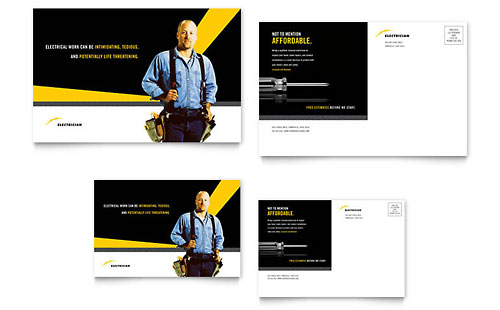 Electrician Postcard Template