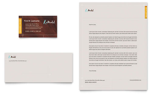 Home Remodeling Business Card & Letterhead Template