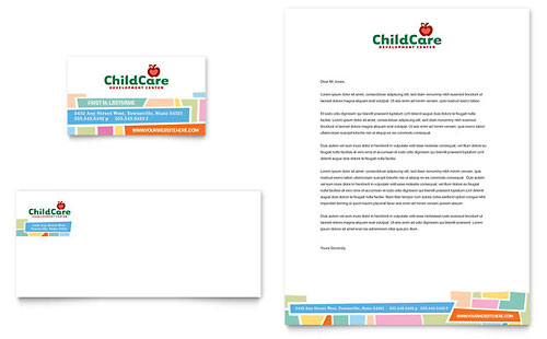 Preschool Kids & Day Care Business Card & Letterhead Template