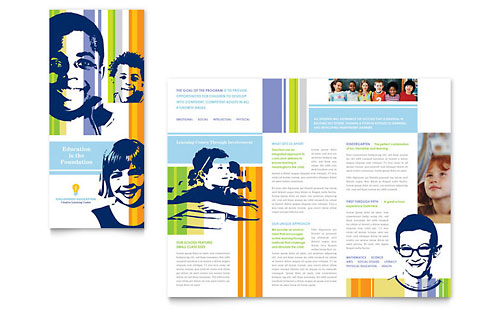 Learning center elementary school brochure template for Brochure design for training institute