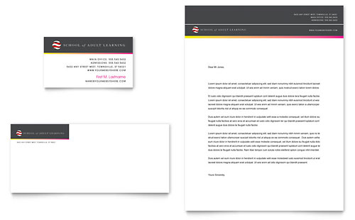 Adult Education & Business School Business Card & Letterhead Template