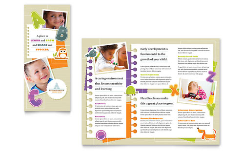 library brochure templates - preschool kindergarten pamphlet templates education