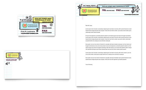 Elementary School Business Card & Letterhead Template Design