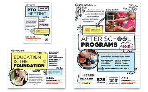Elementary School Flyer & Ad Template Design