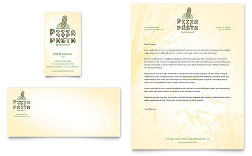 Italian Pasta Restaurant Business Card & Letterhead Template