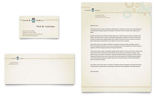 Cafe Deli Business Card & Letterhead Template
