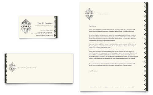 Vineyard & Winery Business Card & Letterhead Template