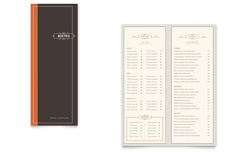 Bistro & Bar Take-out Brochure Template