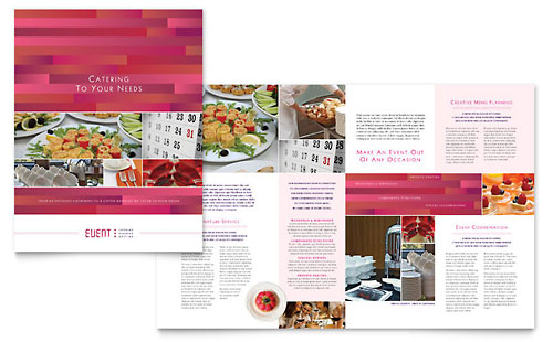 Corporate event planner caterer brochure template for Wedding brochure templates