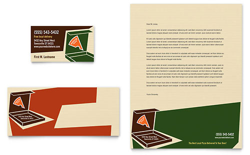 Pizza Pizzeria Restaurant Business Card & Letterhead Template
