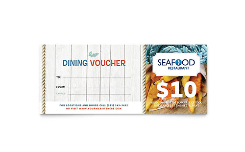 Seafood Restaurant Gift Certificate Template