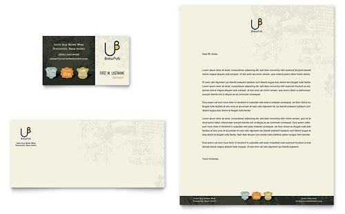Brewery & Brew Pub Business Card & Letterhead Template
