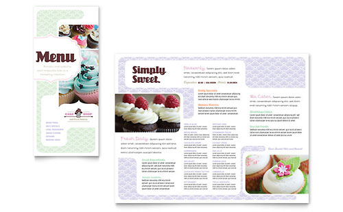 Bakery & Cupcake Shop Menu Template