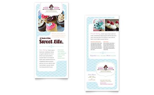 Bakery & Cupcake Shop Rack Card Template