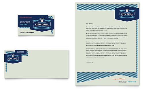 Fine Dining Restaurant Business Card & Letterhead Template