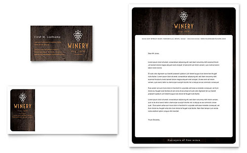 Winery Business Card & Letterhead Template