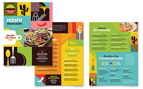 Mexican Restaurant Print Design Menu Template