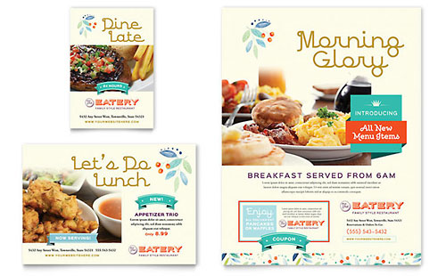 Family Restaurant Print Ad Template