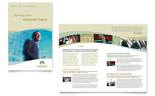Financial marketing brochure flyers graphic designs for Managed services brochure template