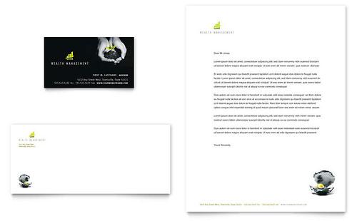 Wealth Management Services Business Card & Letterhead Template
