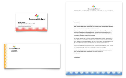 Commercial Printer Business Card & Letterhead Template