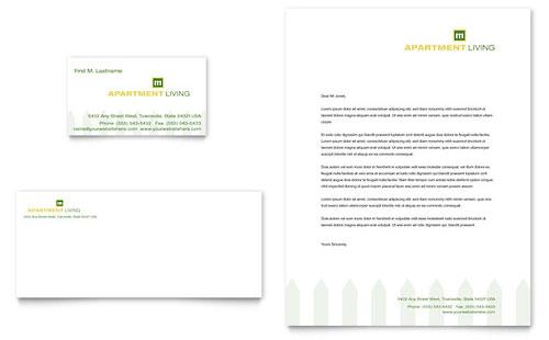 Apartment Living Business Card & Letterhead Template