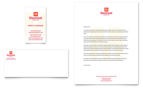 Electrical Services - Business Card & Letterhead Template
