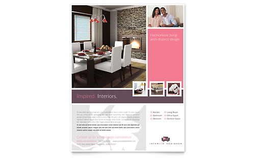 Interior design furniture flyer templates retail sales for P s furniture flyer