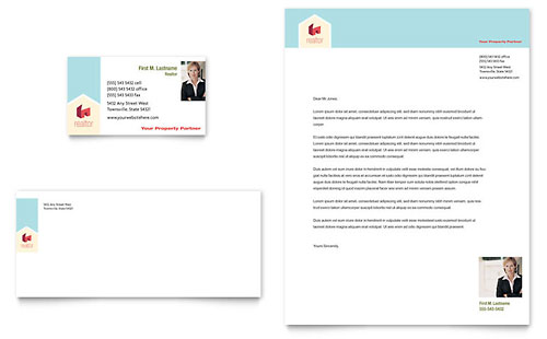 Home Real Estate Business Card & Letterhead Template