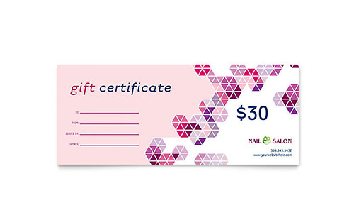 Printable Salon Gift Certificates Nail Salon Gift Certificate