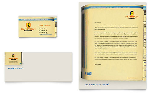 Home Repair Services Business Card & Letterhead Template