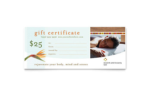 Health & Beauty Spa Gift Certificate Template
