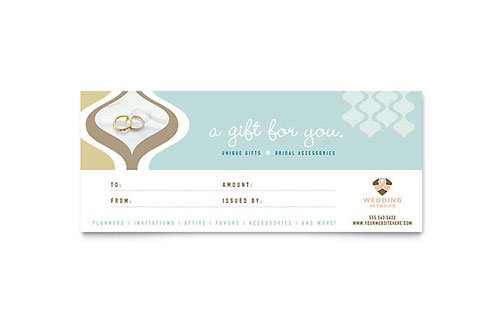Wedding Store & Supplies Gift Certificate Template