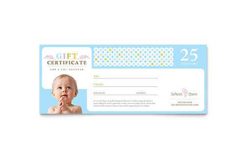 Gift certificate templates blank gift certificate designs for Babysitting gift certificate template