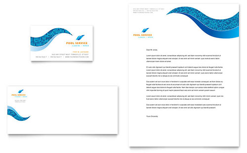 Swimming Pool Cleaning Service Business Card & Letterhead Template
