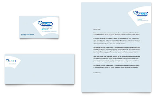 Car Cleaning - Business Card & Letterhead Template
