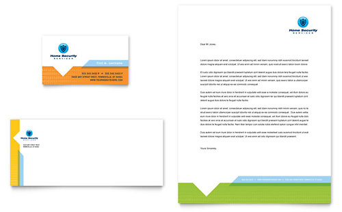 Home Security Systems - Business Card & Letterhead Template