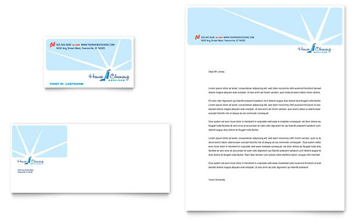 House Cleaning & Housekeeping - Business Card & Letterhead Template
