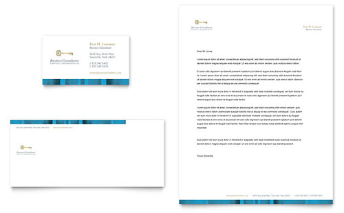 Small Business Consulting Business Card & Letterhead Template