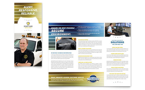 Security Guard Tri Fold Brochure Template