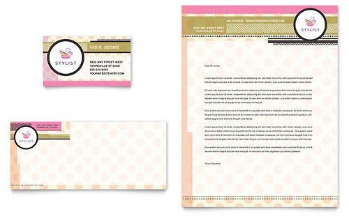 Hairstylist Business Card & Letterhead Template